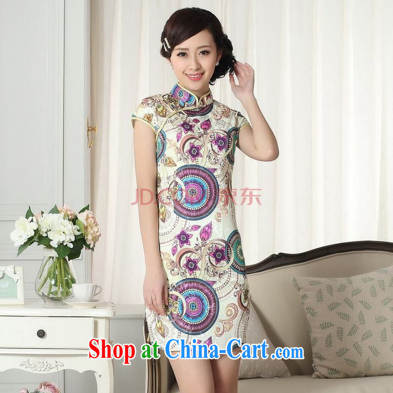 For Pont Sond� Diana Lady stylish jacquard cotton cultivating short cheongsam dress new Chinese qipao gown picture color XL
