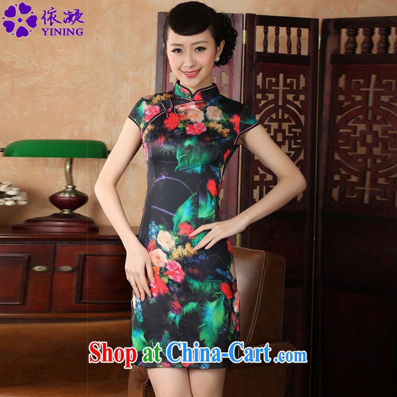 According to fuser summer new female retro improved Chinese Han-collar, a tight-tie cultivating short Chinese qipao dress LGD/D 0231 # -A green feather 2XL