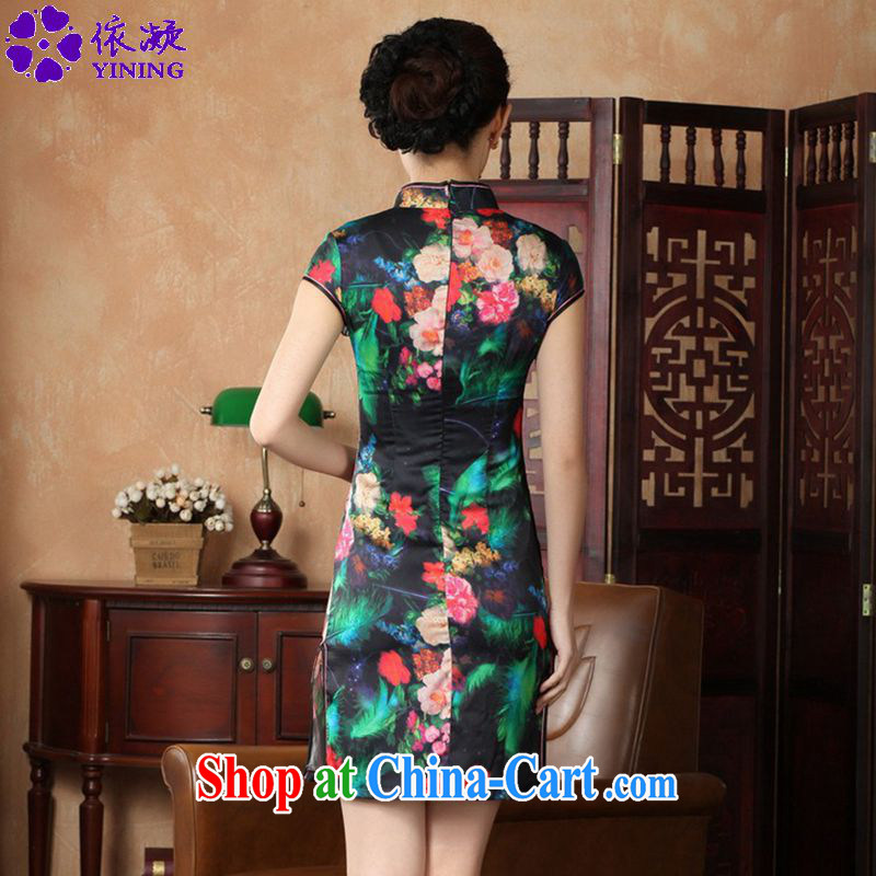 According to fuser summer new, female retro improved Tang on the service, for the hard-pressed for the cultivation, short Tang replace cheongsam dress LGD/D 0231 # -A green feather 2XL, according to fuser, shopping on the Internet