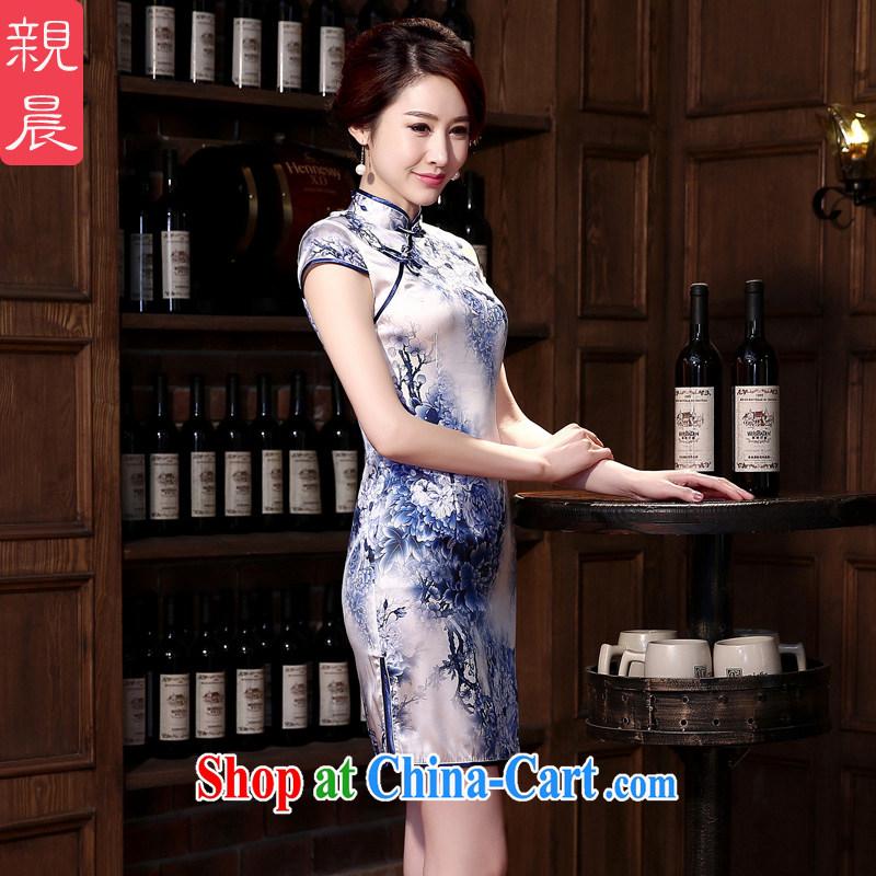 pro-am 2015 new daily cheongsam dress spring and summer retro sauna silk Silk Cheongsam dress improved stylish blue Peony M