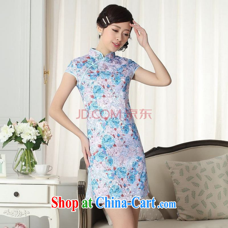 For Pont Sond�� Diana Lady stylish jacquard cotton cultivating short cheongsam dress new Chinese qipao gown picture color XXL