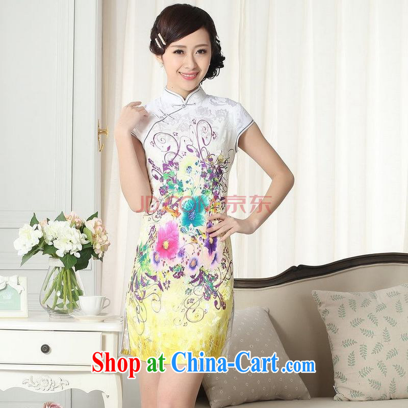 For Pont Sondé Diana Lady stylish jacquard cotton cultivating short cheongsam dress new Chinese qipao gown picture color XXL