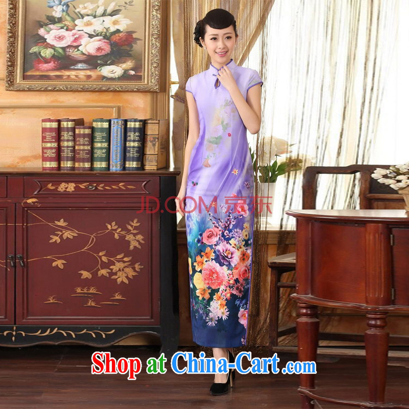 For Pont Sondé Ms. Diana Chinese qipao Diane Fang drops short-sleeved cultivating long double robes purple XXL