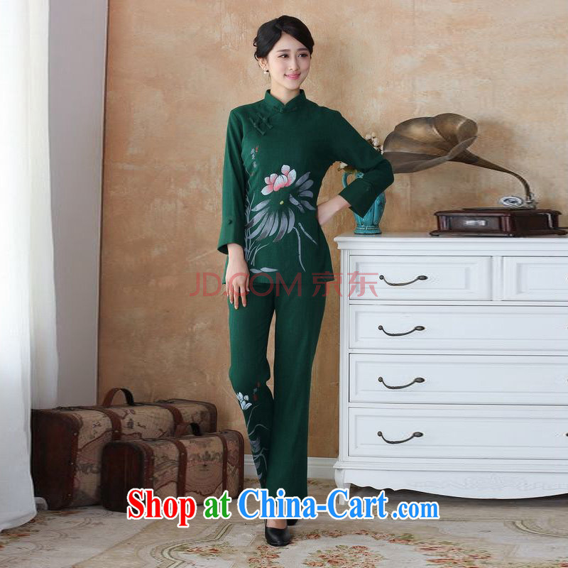 Shanghai, optimize the purchase older Ms. cotton load the spring loaded package, for hand-painted Chinese T-shirt pants Package - 3 green 4 XL