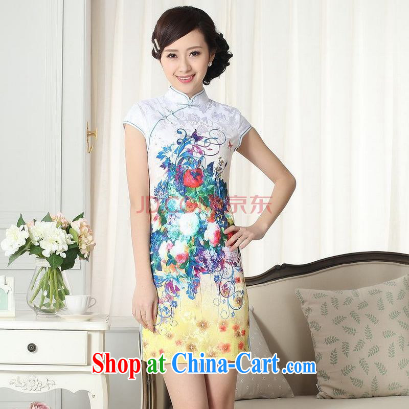 For Pont Sond� Diana Lady stylish jacquard cotton cultivating short cheongsam dress new Chinese qipao gown picture color XXL