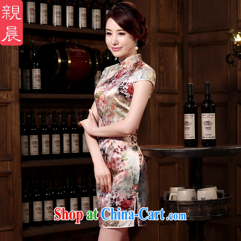 pro-am 2015 new spring dresses dresses summer retro sauna silk daily Silk Cheongsam dress improved stylish suit 2 XL