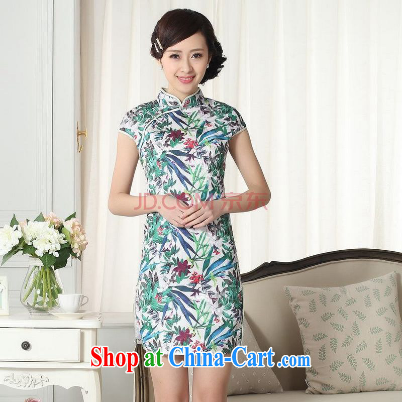 For Pont Sondé Diane new summer elegance Chinese qipao Chinese graphics thin short cheongsam picture color XXL