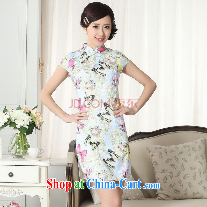 For Pont Sond¨¦ Diane new summer elegance Chinese qipao Chinese graphics thin short cheongsam picture color XXL