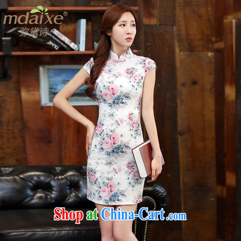 2015 summer new girls daily cheongsam dress improved adolescent girls and stylish embroidered cheongsam short-sleeved Ethnic Wind long cheongsam summer costumes Heavenly Fragrance XXL