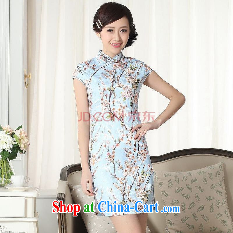 For Pont Sond� Diane new summer female jacquard cotton daily Chinese short-sleeved dresses beauty short cheongsam picture color XXL