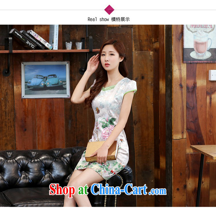 2015 new spring and summer white Peony jacquard cotton retro daily improved cheongsam dress style female Dan Feng cited butterfly XXL pictures, price, brand platters! Elections are good character, the national distribution, so why buy now enjoy more preferential! Health