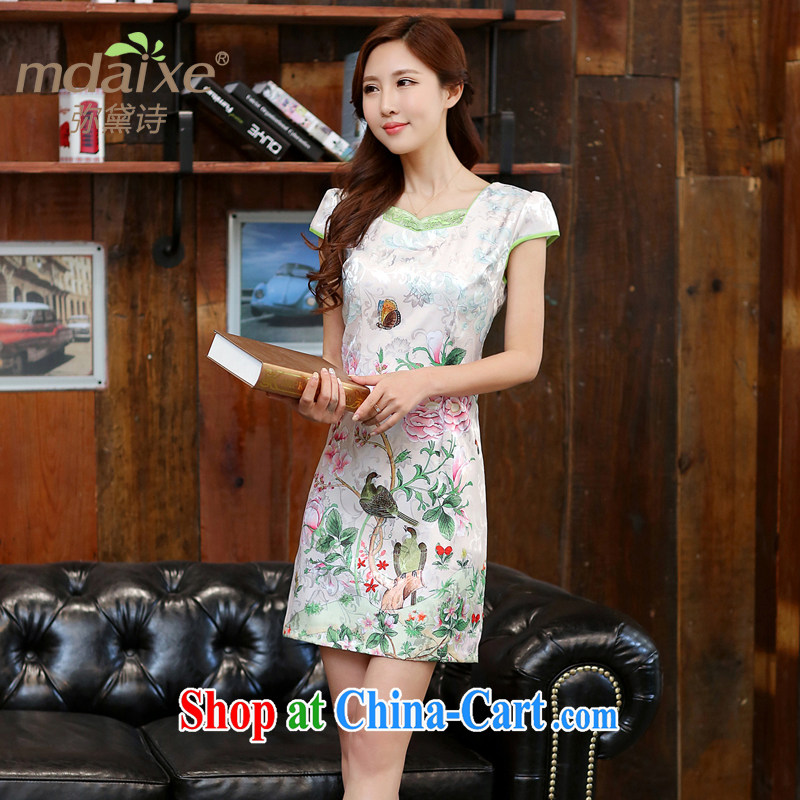 2015 new spring and summer white Peony jacquard cotton retro daily improved cheongsam dress temperament female Dan Feng cited butterfly XXL