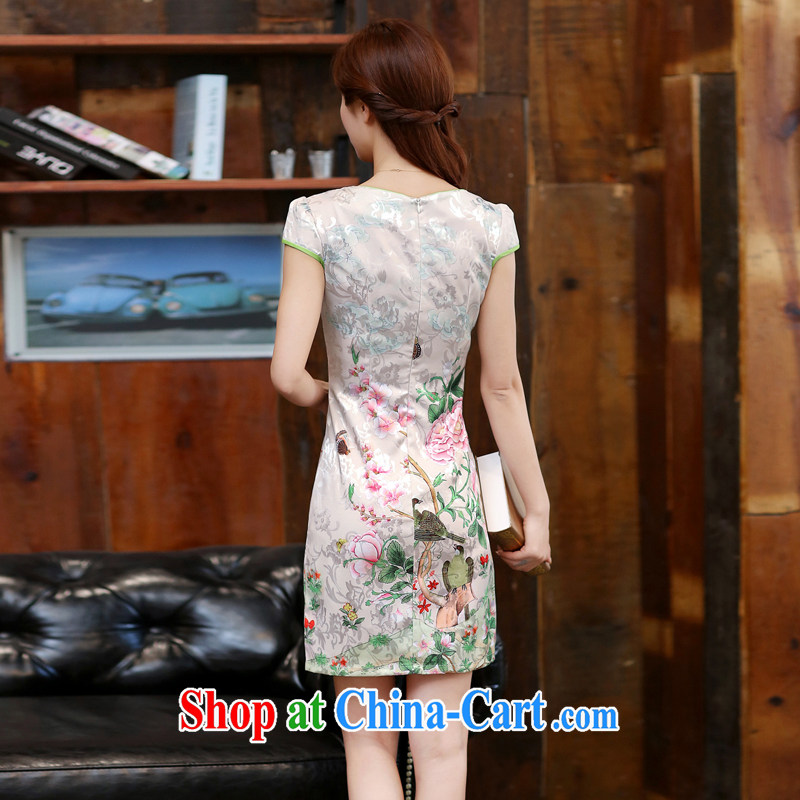 2015 new spring and summer white Peony jacquard cotton retro daily improved cheongsam dress temperament female Dan Feng cited butterfly XXL, Diane poetry (mdaixe), online shopping