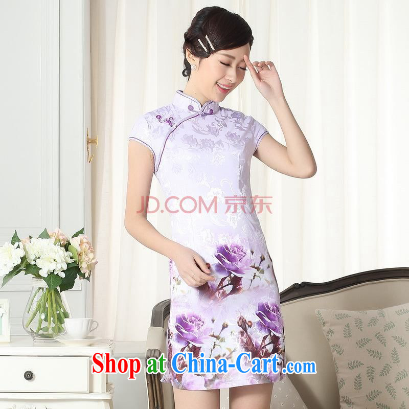 For Pont Sond¨¦ Diane summer new women jacquard cotton daily Chinese section of Sau-ying cheongsam beauty short cheongsam picture color XXL
