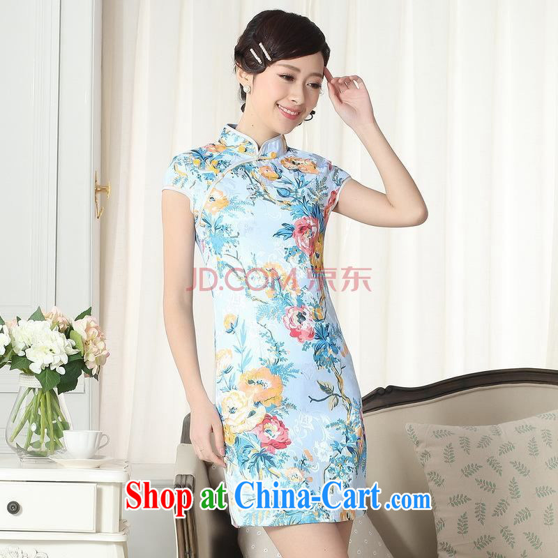 For Pont Sond¨¦ Ms. Diane new jacquard cotton daily Chinese qipao cultivating short cheongsam picture color XXL