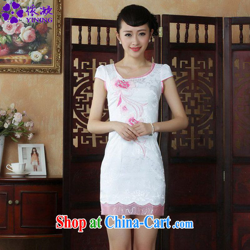 According to fuser new female retro improved Chinese Chinese qipao the flap to spend cultivating short Chinese qipao dress LGD/D #0232 figure 2 XL