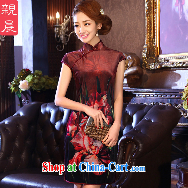 The pro-am 2015 as soon as possible summer new short wedding wedding banquet, older mothers with velvet cheongsam dress dark 2 XL