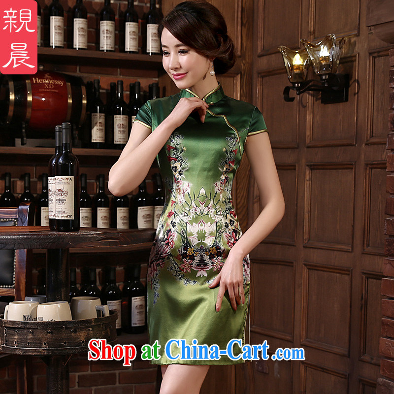 pro-am 2015 New Silk Cheongsam dress spring and summer retro sauna silk short, daily outfit skirt improved stylish green M