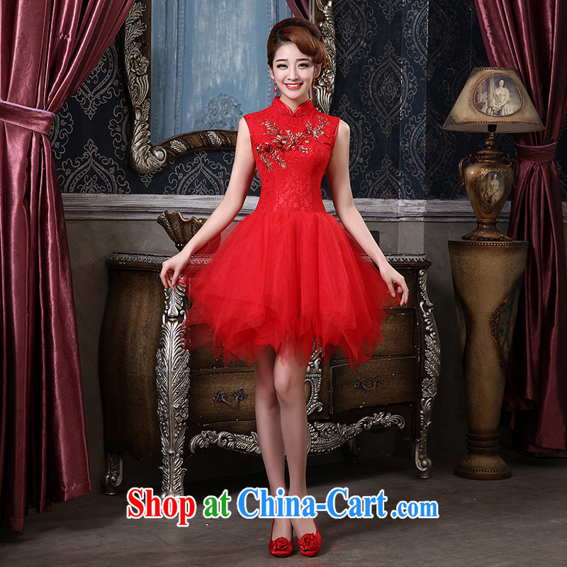 The china yarn bridal toast service 2015 New Red wedding dresses and stylish short annual chair later graphics thin dress skirt and red made size is not returned.