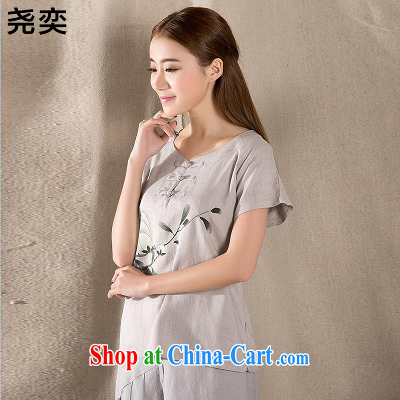 Yao Yi _YAOYI_ 2015 summer new antique Chinese female improved fashion cheongsam shirt cotton Ms. Yau Ma Tei Tong load Z 1220 gray XXL