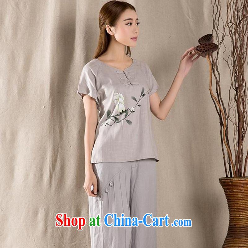 Yao Yi (YAOYI) 2015 summer new antique Chinese female improved fashion cheongsam shirt cotton Ms. Yau Ma Tei Chinese Z 1220 gray XXL, Yao Yi, shopping on the Internet