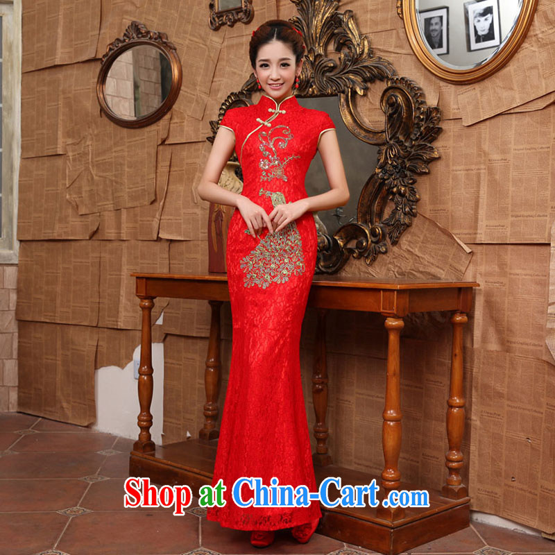 The china yarn bows service bridal dresses improved 2015 new wedding dress long stylish lace crowsfoot dress skirt Red Red Golden Flower made size final