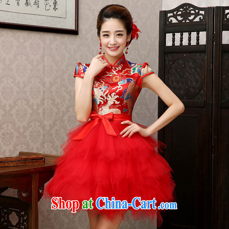 The china yarn 2015 new dresses wedding dresses bride toast clothing dragon robe long-grain-hi stage the short dress with red the size is not returned.