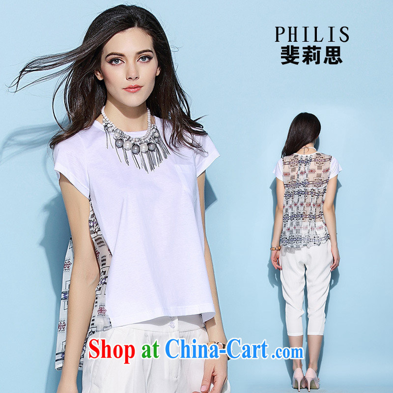 hamilton European site women 2015 new summer female T-shirt silk stitched cotton T pension 6722 white L