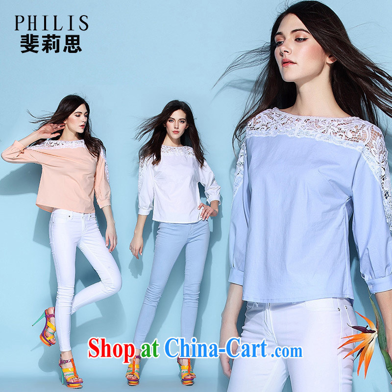hamilton original design the European site spring 2015 ladies bowtie nails pearl milk silk Openwork female T pension 6624 pink L