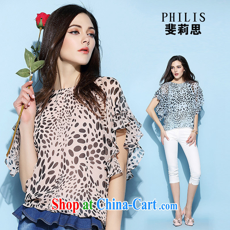 hamilton European site women summer 2015 new sweet leopard print T-shirt with round collar short-sleeved silk female T pension 6725 pink L