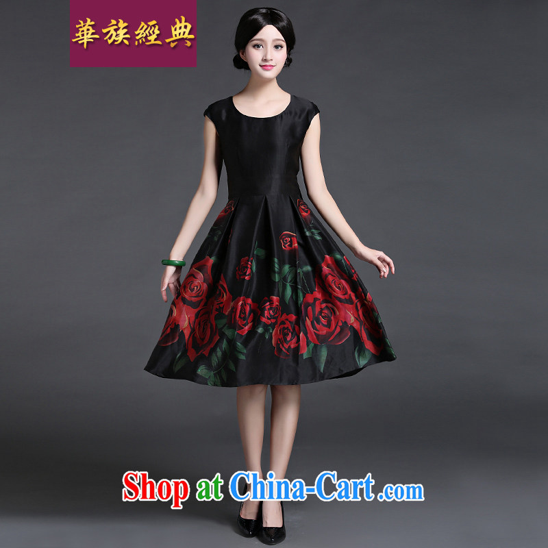 China classic 2015 summer Chinese silk sauna silk commuter dress in Ms. long retro art, fancy XXL