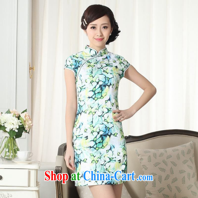 Yet, Ms. floor dresses jacquard cotton daily Chinese qipao cultivating short cheongsam picture color 2 XL