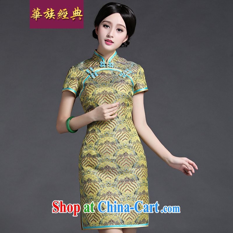 China classic 2015 new summer fashion, Ms. short Chinese Dress cheongsam dress improved retro floral M