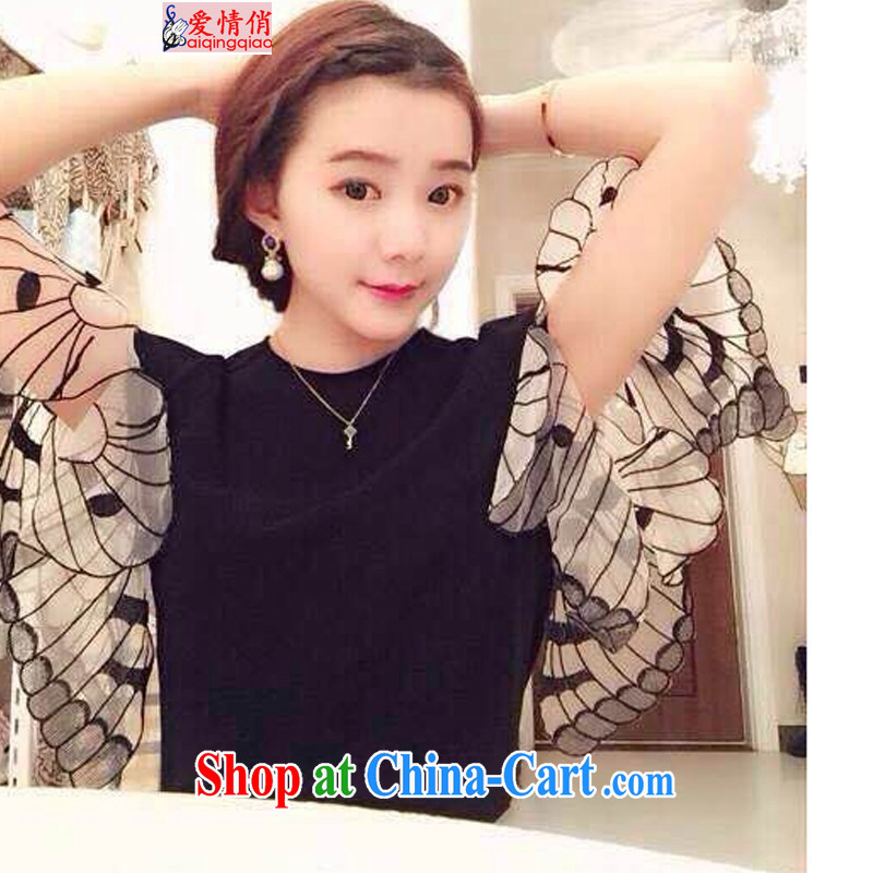 Love For 2015 the European site female new stylish lounge simple bowtie cuff 100 ground T-shirt J 1109 photo color L