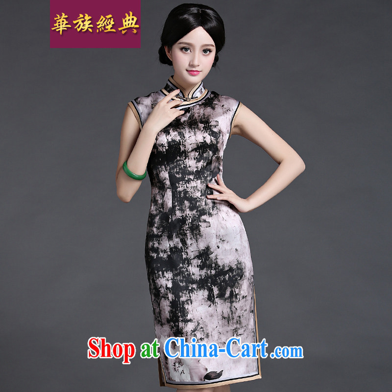 China classic 2015 summer Chinese improved silk European root yarn double-shoulder cheongsam dress retro beauty suit Ms. L
