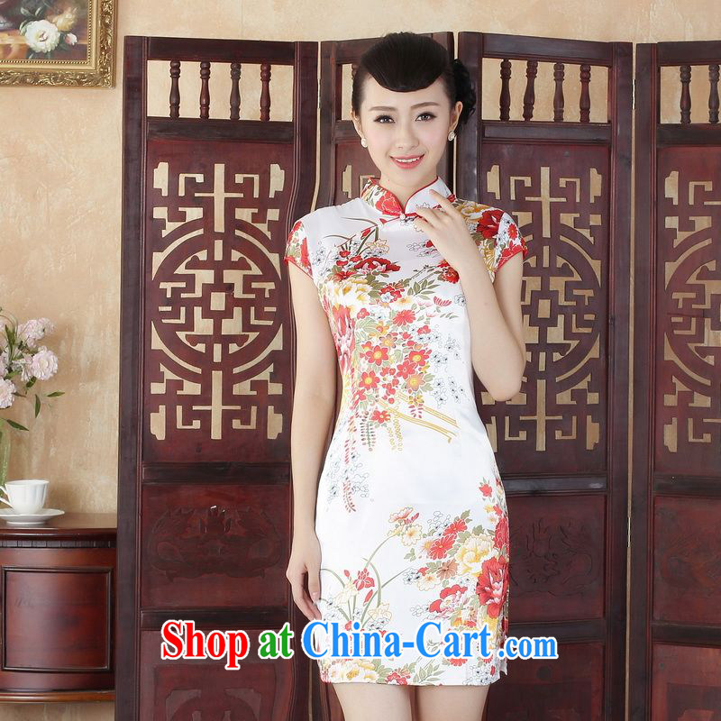 Property is still property, Ms. Tang cheongsam with improved summer cheongsam dress elegant Chinese cheongsam dress dress white M