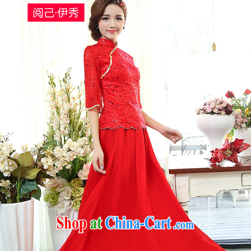 Access to and the Sau 2015 spring new female minimalist beauty Chinese bows wedding dress Long, two-piece dresses 7 1505 cuff A red XXXL