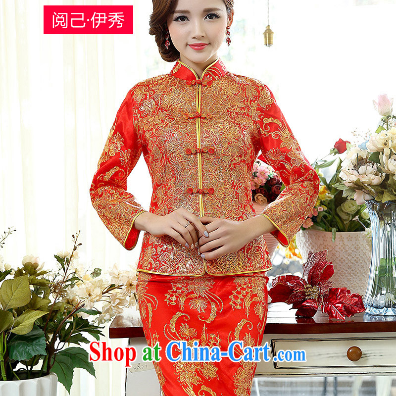 Access to and the Sau 2015 new spring dress simple and cultivating Chinese brides wedding dress long cheongsam dress uniform toast 1508 A and Ho Kim XXXL
