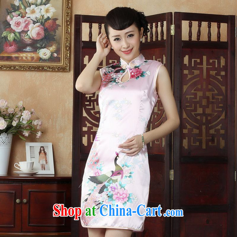 Yet, Ms. floor dresses cheongsam Chinese improved summer outfit, for a tight Peacock short cheongsam J 5145 pink S