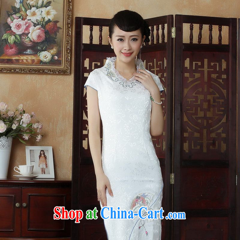 Floor is floor dresses summer dresses, Ms. Tang is improved summer dresses, embroidery for Chinese qipao picture color M