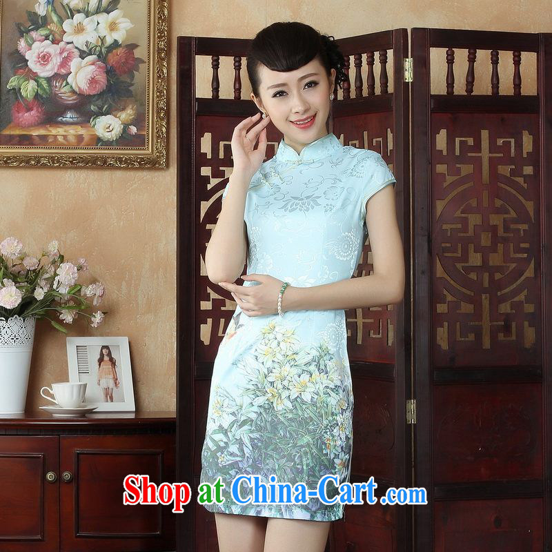 Property is property, dress Chinese cheongsam beauty enhancement stamp Chinese cheongsam dress picture color 2 XL