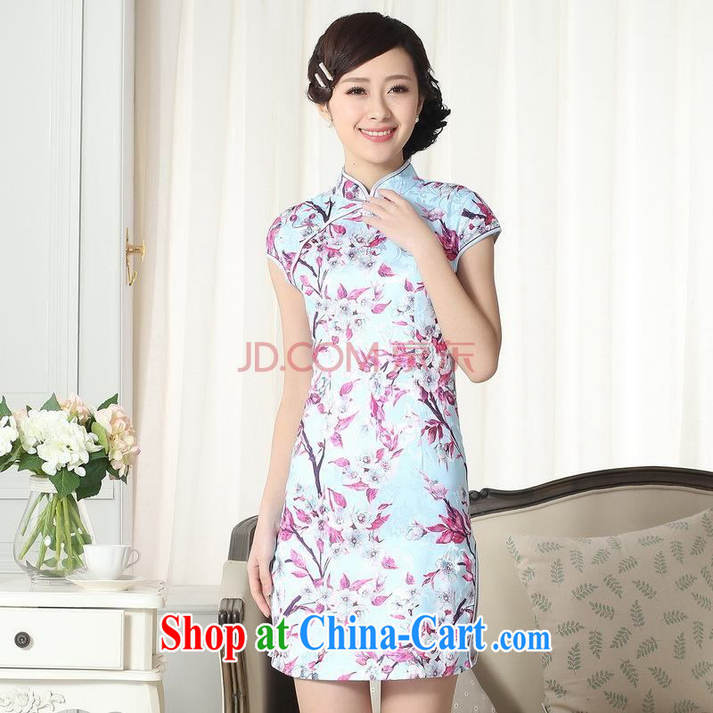 For Pont Sond¨¦ Ms. Diane new summer elegance Chinese qipao Chinese graphics thin short cheongsam picture color XXL