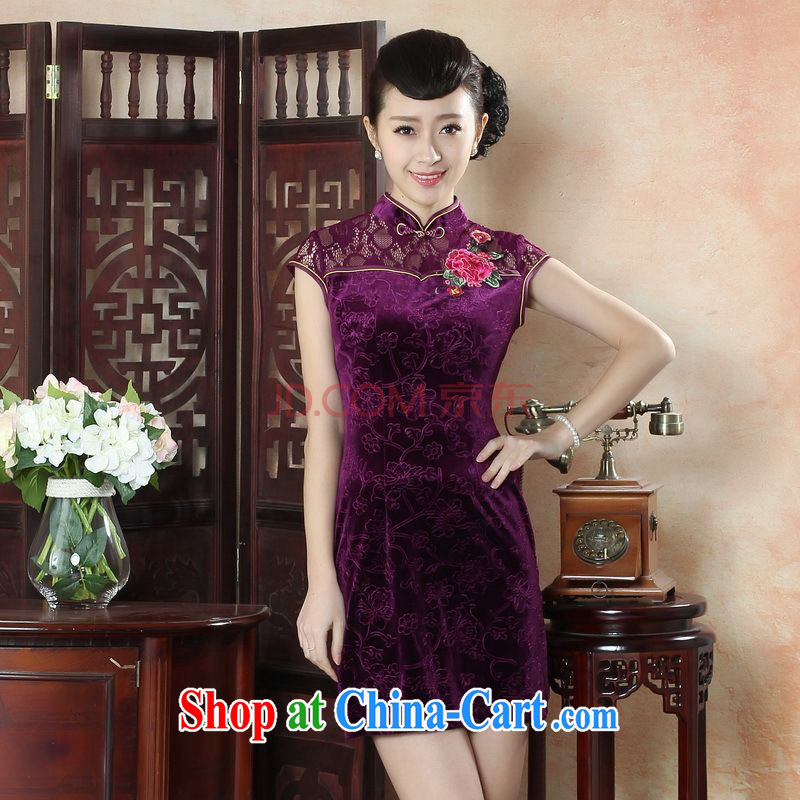 For Pont Sond� Diane summer new female lace cheongsam dress improved daily thin embroidered cheongsam D 0256 - B XXL