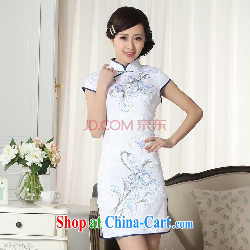 For Pont Sond¨¦ Diane summer new dresses women's clothing stylish elegance Chinese qipao hand painted dresses D 0092 - A XL