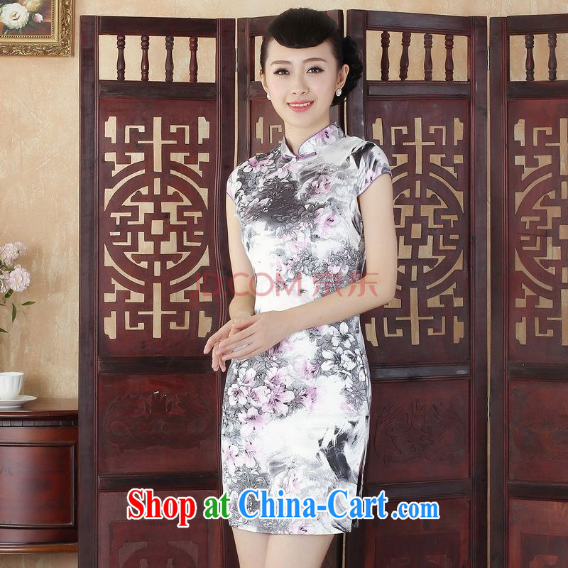 For Pont Sond� Diane summer new Chinese cheongsam dress female elegance short cheongsam dress is tight stamp short cheongsam picture color XXL