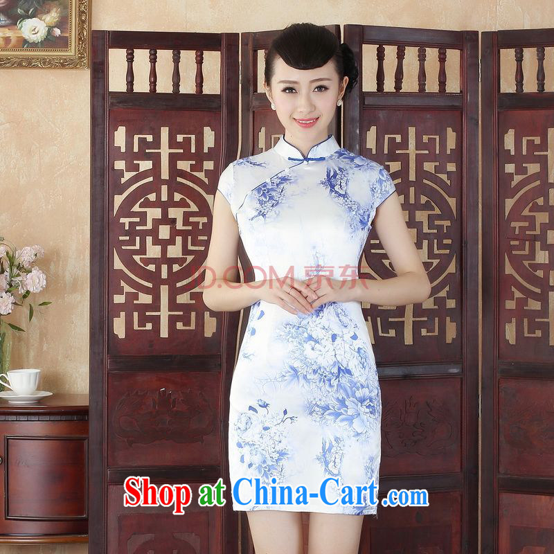 For Pont Sond�� Ms. Diana summer wear new dresses Ethnic Wind antique Chinese qipao is hard stamp short cheongsam picture color XXL