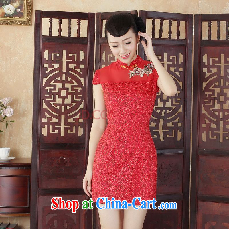 For Pont Sond¨¦ Diana Lady Jane, stylish and refined beauty lace short cheongsam dress new Chinese Chinese Dress D 0254 - C XXL