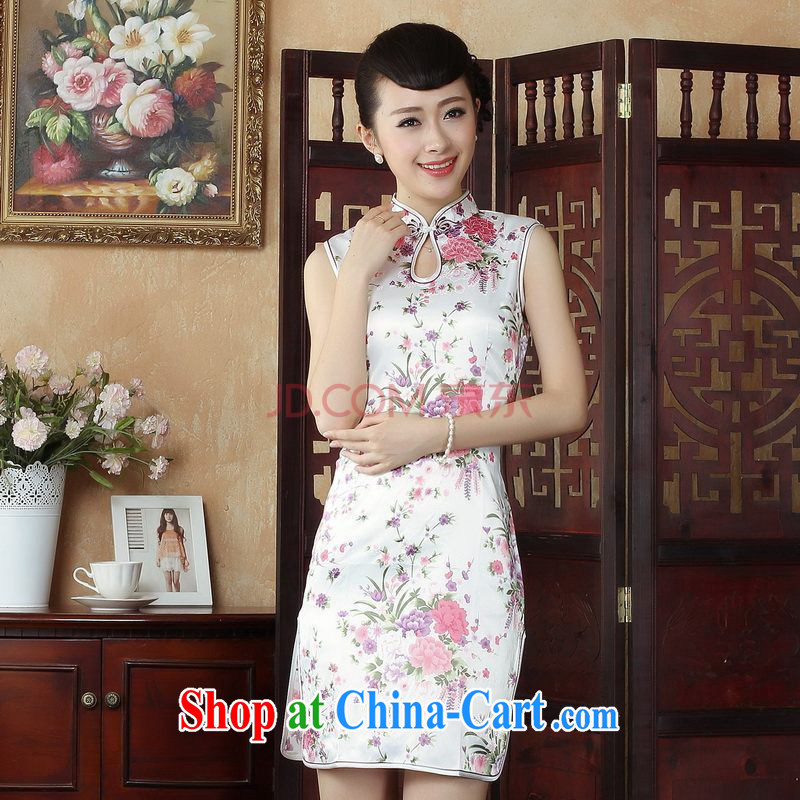 For Pont Sondé Ms. Diana elegant qipao Tang with improved summer dresses up for a tight stamp dress dresses J 5022 white XXL
