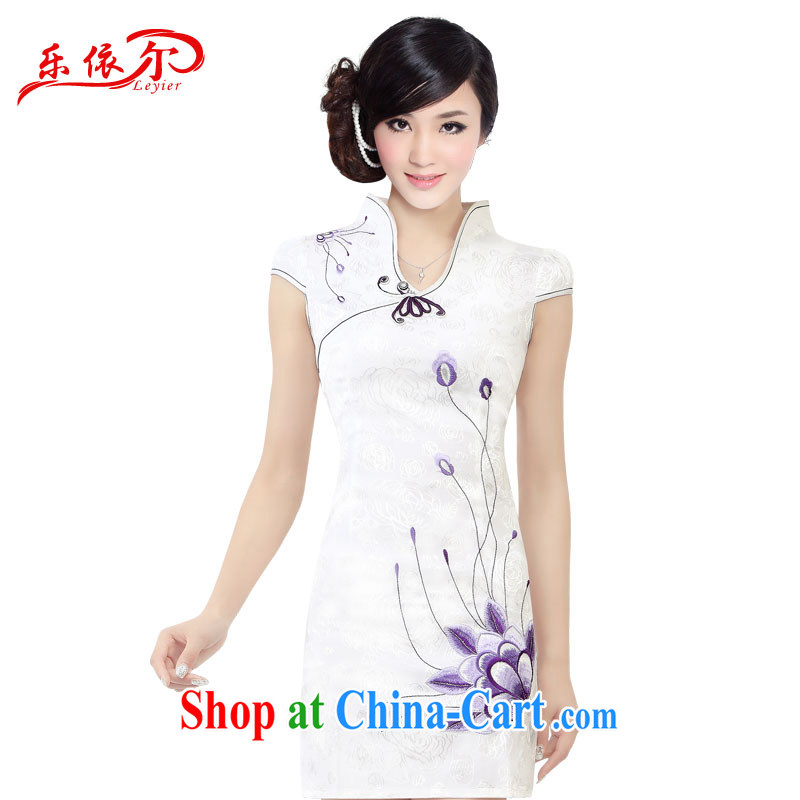 Music in summer 2015 embroidered short sleeves cultivating improved cheongsam retro landscape cheongsam dress female LYE 1301 white XXL