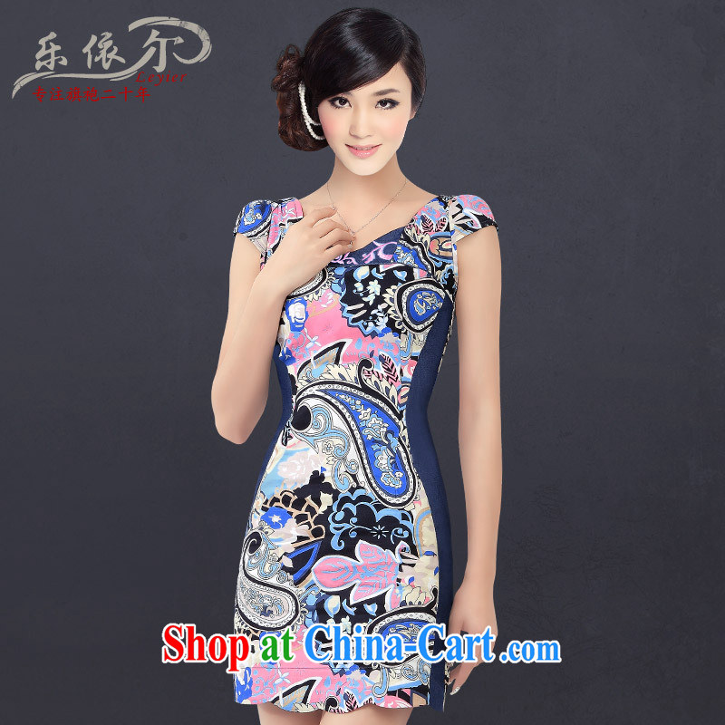 Music in summer new stylish and improved small cheongsam Ethnic Wind short-sleeved short large tread daily outfit LYE 1361 blue XL